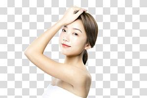 Wanita memegang rambutnya, Kecantikan perawatan kulit wajah, Krim wajah, model perawatan kulit PNG clipart