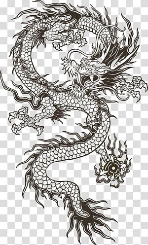 Ilustrasi naga Cina, totem naga Cina, ilustrasi naga hitam png