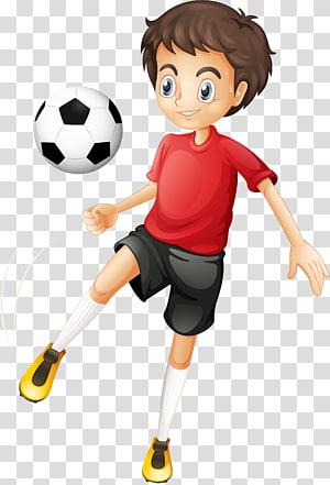 anak berambut coklat bermain sepak bola, Kartun pemain sepak bola, anak-anak bermain PNG clipart