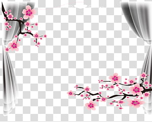 Pernikahan Lakukan sendiri, Bingkai poster pernikahan, bunga pohon merah muda, dan ilustrasi tirai abu-abu png