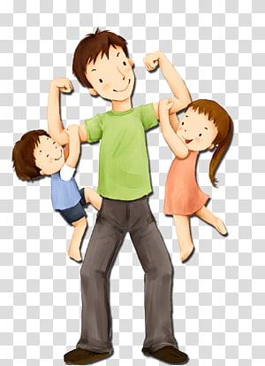 Ilustrasi Hari Minggu Anak Ayah, Ayah dan anak-anak, lelaki membawa dua ilustrasi anak png