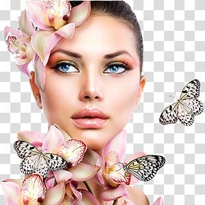 wanita mengenakan hiasan kepala bunga dengan kupu-kupu, salon kecantikan Spa Pedicure Day Kosmetik, kecantikan PNG clipart