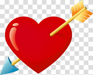 Hati dan panah, Valentine Red Heart with Arrow, panah melintasi hati png