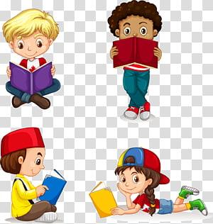 anak-anak membaca buku, Anak, anak-anak yang dilukis dengan tangan membaca png