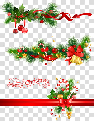 ilustrasi pita merah dan hijau, dekorasi Natal Candy cane Christmas tree, lonceng Natal dan cabang pinus png