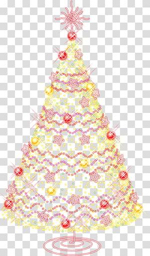 ilustrasi pohon Natal menyala, California Pohon Natal Buatan Natal, Pohon Natal Emas Besar dengan Ornamen PNG clipart