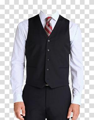 Kemeja kotak-kotak putih pria dan rompi hitam, T-shirt Suit Sepatu, Men Suit png