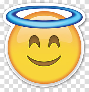 emoji kuning dengan ilustrasi halo biru, Smiley Emoji Emoticon Angel, emoji png