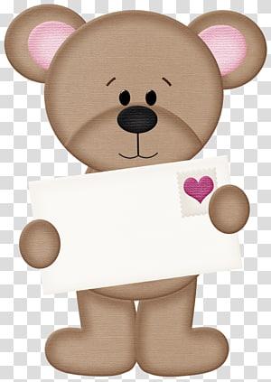 Beruang Hari Valentine, Hati Beruang, ilustrasi beruang coklat png