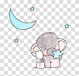 gajah abu-abu dengan bintang dan bulan biru, Seni Menggambar Pembibitan, Gajah, dan kelinci kecil png