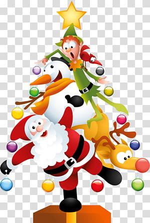 Santa Claus pohon Natal Hari Natal, Lucu Pohon Natal, ilustrasi Santa Claus PNG clipart