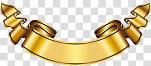 Logo Banner Label Emas, Banner Emas Besar, pita kuning PNG clipart
