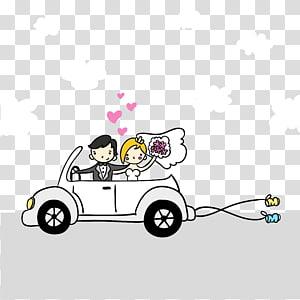 ilustrasi pasangan naik kendaraan yang baru menikah, Kartun Pernikahan Ilustrasi, Pasangan PNG clipart