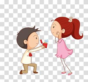 Undangan pernikahan Proposal pernikahan Pesta pertunangan, Pasangan kartun, anak laki-laki menunjukkan cincin di dalam kotak untuk ilustrasi gadis png