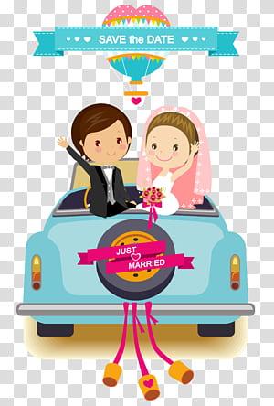 Undangan pernikahan, mempelai pria kartun, bahan latar belakang mobil pernikahan kartun, ilustrasi pengantin PNG clipart