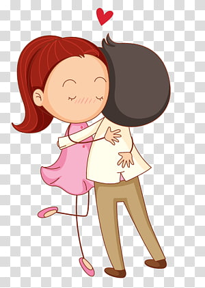 Love Cartoon Romance Hug, Pasangan kartun, wanita dan pria memeluk ilustrasi png