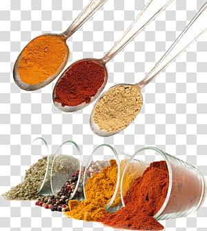 tiga sendok perak dengan rempah-rempah bubuk, campuran Spice Masala Food, Do dressing png