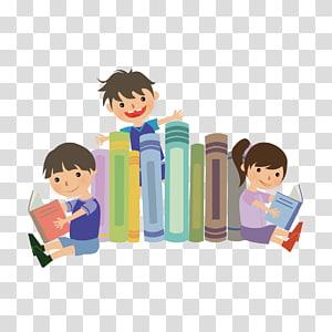 tiga anak membaca buku, Hari Literasi Internasional Melek Keluarga 8 September Membaca, Membaca anak-anak png