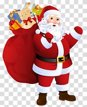 Santa Claus Père Noël, Santa Claus dengan Tas Hadiah, ilustrasi Santa Claus png