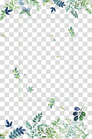Hijau, Tekstur perbatasan bunga hijau segar kecil, Batas daun hijau png
