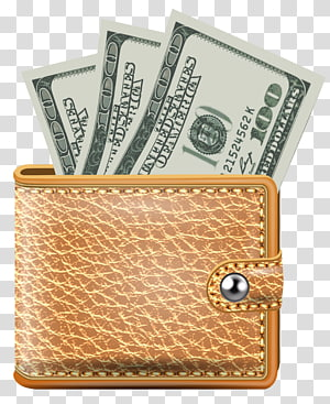 tiga 100 uang kertas dolar AS dalam dompet kulit ganda, Ikon dompet online, Dompet dengan Uang Kertas png