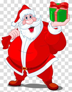 Santa Claus, Santa Claus dengan Hadiah Hijau, Santa Claus dengan ilustrasi hadiah png