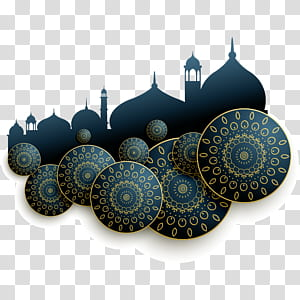 Arsitektur Islam, Ilustrasi abstrak arsitektur Islam yang Indah, silhouttes biru dan coklat ilustrasi masjid PNG clipart