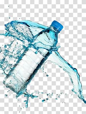 botol air jernih dengan percikan air, air mineral png