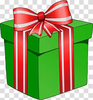 ilustrasi kotak hadiah hijau dan merah, hadiah Natal hadiah Natal, Kotak Hadiah Hijau dengan Red Bow png