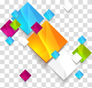 ilustrasi seni abstrak geometri, kotak geometris abstrak berwarna-warni, karya seni grafis beraneka warna PNG clipart