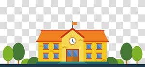 Pembelajaran Pendidikan Siswa Sekolah Malang, sekolah kartun oranye, ilustrasi sekolah cokelat png