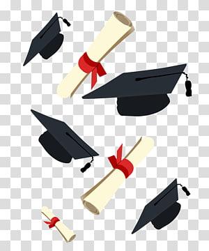 ilustrasi mortar topi di udara, Wisuda upacara Square topi akademik Diploma, Dr. cap dan diploma, kelulusan png