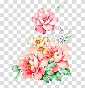 Bunga merah muda Lukisan cat air, Bunga merah muda dekoratif yang dilukis dengan tangan, bunga merah muda dan oranye png