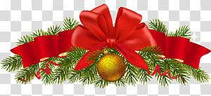 Dekorasi Natal Pohon Natal, Dekorasi Natal Pinus, Ilustrasi Pita Merah png