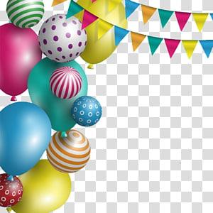 Balon pesta warna-warni dan buntings, Undangan pernikahan, Kue ulang tahun, Kartu ucapan, Elemen dekoratif perayaan balon png
