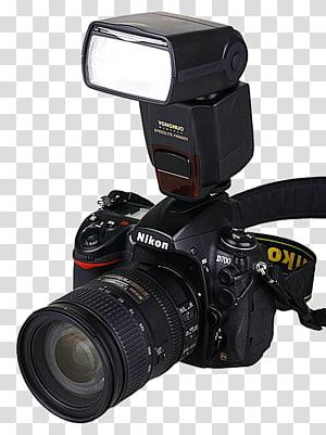 hitam kamera DSLR Nikon dengan flash, Kamera Digital SLR Flash, Kamera dengan flash png