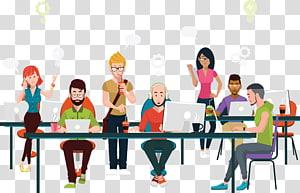 sekelompok orang yang menggunakan ilustrasi laptop, Ilustrasi Coworking Business Office, Tim proyek beristirahat Gambar. PNG clipart
