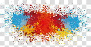 Warna, percikan cat, lukisan abstrak png