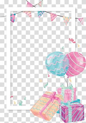 Hadiah Balon, perbatasan balon kotak hadiah Cat Air, ilustrasi bertema pesta png
