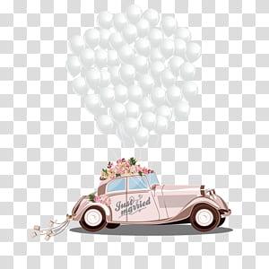 Undangan pernikahan Kartun Mempelai Pria Pernikahan, Mobil pernikahan romantis, ilustrasi mobil coklat dan balon png