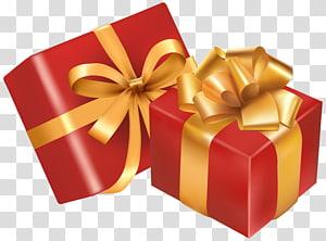 dua kotak hadiah merah dan emas, hadiah Natal Hari Natal, Dua Kotak Hadiah Merah png