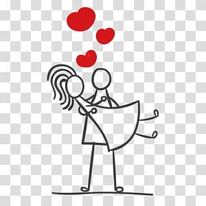 pasangan, Stick figure couple Marriage, Stickman couple PNG clipart