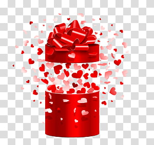 ilustrasi kotak hadiah merah dan putih, Mikrofon Hadiah Hari Valentine, buka kotak hadiah png