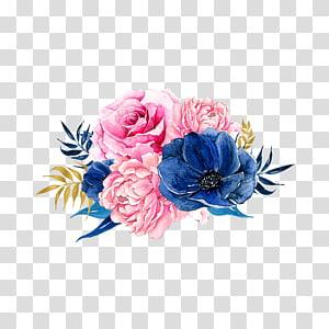 Bunga merah muda Biru, Bunga, ilustrasi bunga pink dan biru png