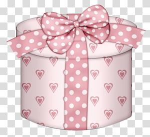 ilustrasi kotak topi merah muda hati-cetak, Kotak hadiah Natal, Pink Hearts Round Gift Box png
