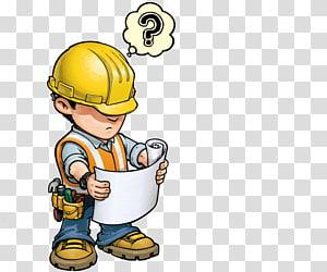 pekerja konstruksi memegang ilustrasi kertas, pekerja konstruksi kartun teknik arsitektur, bekerja keras PNG clipart