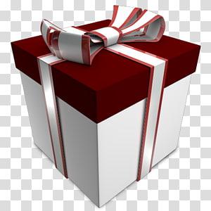 ilustrasi kotak hadiah putih dan merah, kotak hadiah segi empat, Hadiah 02 png