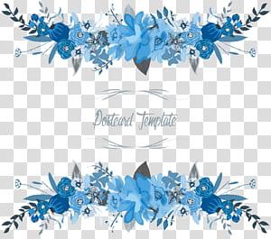 Bunga Perbatasan bunga, templat kartu pos bunga biru dan putih png