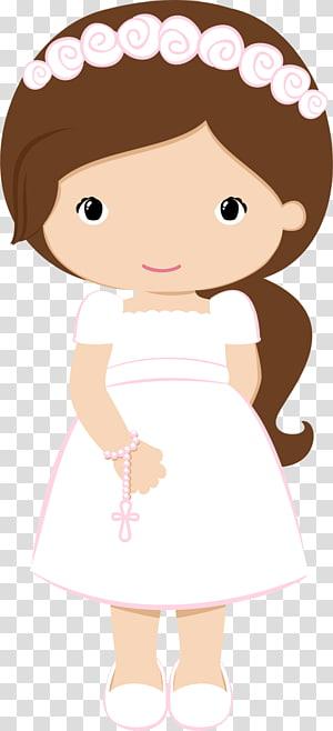 ilustrasi gadis berpakaian pink, Komuni Pertama, Komuni pertama png