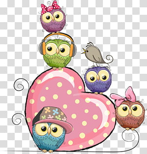 Ilustrasi Owl Kartun Ilustrasi, hati dan burung hantu merah muda, burung hantu dan ilustrasi jantung png
